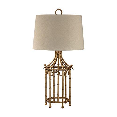 Elk Lighting D2864 Bamboo Birdcage Table Lamp, Gold Leaf