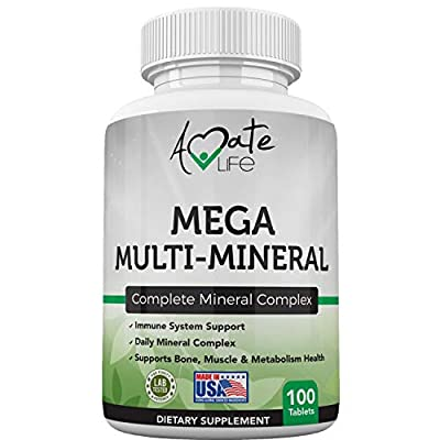 Multi Minerals Supplement Complete Mineral Complex with Vitamin D3, Calcium, Magnesium, Zinc & Iodine Bone, Muscle, Metabolism & Immune Support Mega Multi-Mineral Supplement 100 Tablets by Amate Life