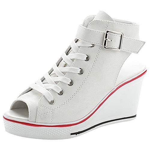 rismart Mujer con Tacon Cuña Sneakers Peep Toe Casual Tenis de Lona Zapatillas