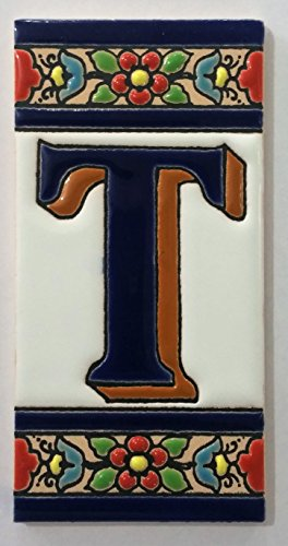 ARTESANÍA ROCA Letras y números de azulejo cerámico. Modelo Flor Azul. Medidas 11cm Altura x 5,5 cm Ancho Made IN Spain (T Letra)
