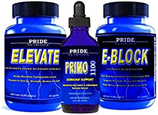 #1 Muscle Building Stack- Testosterone Booster, Anabolic Growth Recovery Support & Estrogen Blocker 3 Bottles- Best Lean Muscle Mass Building Stack (Level 1/Primo Strength 1110)