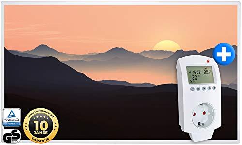 Heidenfeld Infrarotheizung HF-HP105 600 Watt Sonnenaufgang Fotomotiv + Steckdosenthermostat HF-DT100-10 Jahre Garantie - Deutsche Qualitätsmarke - TÜV GS - Für 8-16 m² Räume (600 Watt, Sonnenaufgang)