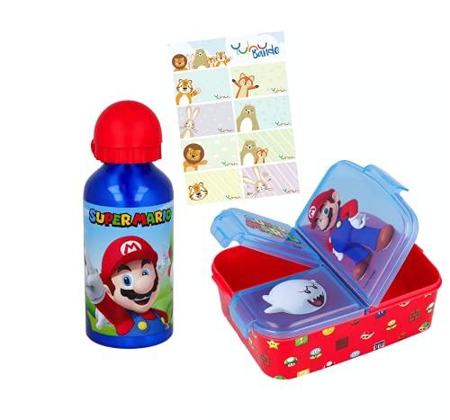 Super Mario Alu-Trinkflasche Sportflasche + Premium Brotdose Lunchbox Lunch-Set mit Namensaufkleber