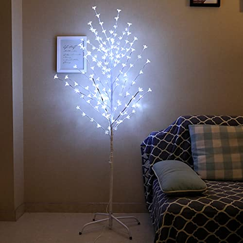 FangsGo 5FT Lighted Cherry Blossoms Tree 150 LEDs Cool White Fairy Lights Artificial Tree for Home Christmas Wedding Party Indoor Outdoor Festival Decorations