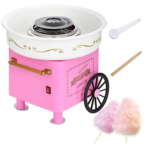 YZU Cotton Candy Floss Maker, Mini Electric Cotton Candy Machine Kit, Home DIY Children Cotton Candy Maker Portable Marshmallow Machine, with Sugar Spoon and Bamboo Sticks,Pink