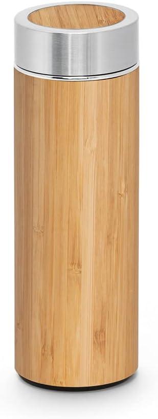 Botella Térmica de Bambú y Acero Inoxidable   Termo para Té con Filtro  Doble Pared e Infusor para Té   Capacidad 430 ml.