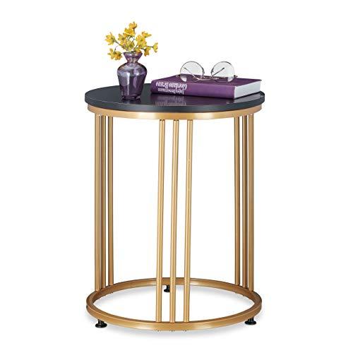 Relaxdays Beistelltisch MARMO, für Wohnzimmer, Metall & MDF, Marmoroptik, runder Sofatisch HxD: 51 x 41 cm, schwarz/Gold