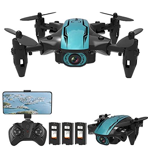 skrskr CS02 RC Drone con cámara 4K WiFi FPV Principiante Drone Mini Plegable Quadcopter Juguete para niños Modo sin Cabeza Pista de Vuelo Luces LED