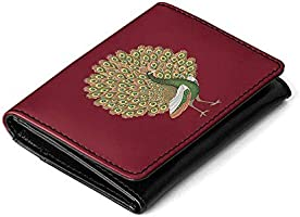 DailyObjects Women's Leather Peacocking Flip Top Card Wallet (Maroon)