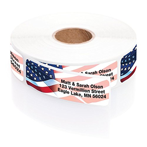 Personalized Proudly American Rolled Address Labels with Elegant Plastic Dispenser