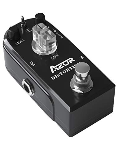 AZOR Distortion Guitar Pedal Effect 3 Modes Natural, Tight, Classic with True Bypass Black AP-302