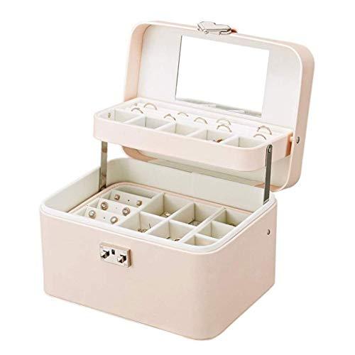 BWCGA Joyería de Caja - Caja de joyería Femenina de Gran Capacidad de Mano del hogar de la joyería Pendientes Caja de Almacenamiento