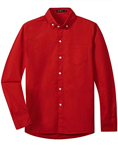 Spring&Gege Boys Long Sleeve Uniform Woven Twill Button Down Shirt for Children Red Size 7-8 Years
