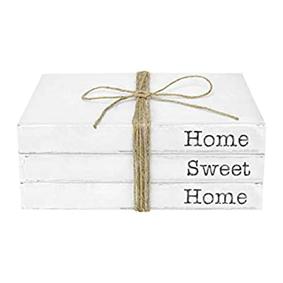 TenXVI Designs Decorative White Books, Set of 3 - Home Sweet Home Stacked Books - Rustic Farmhouse Accent Decor for a Living Room Coffee Table, Entryway Shelf, End Table, Mantel & Bedroom Night Stand