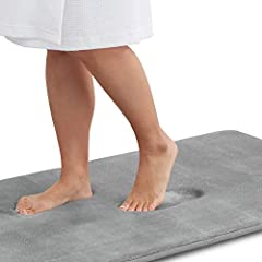COMFORTABLE AND LUXURIOUS – The Genteele bath mat is filled with soft and comfortable polyurethane memory foam and outer material is super soft and cozy coral velvet feel microfiber. Never have you been able to step right out of the bath or shower on...