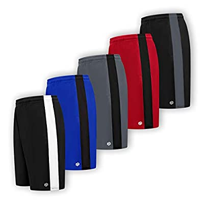 Men's Premium Moisture Wicking Active Athletic Performance Shorts with Pockets - 5 Pack