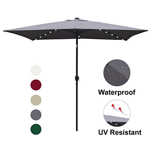 ABCCANOPY Rectangular Solar Powered Patio Umbrella Outdoor Umbrellas, Tilt and Crank for Patio Deck and Pool Market Table Umbrella with 26 LED Lights, 6.6 by 9.8 Ft