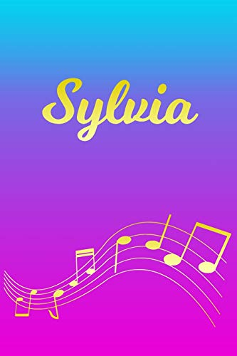 Sylvia: Sheet Music Note Manuscript Notebook Paper – Pink Blue Gold Personalized Letter S Initial Custom First Name Cover – Musician Composer … Notepad Notation Guide – Compose Write Songs