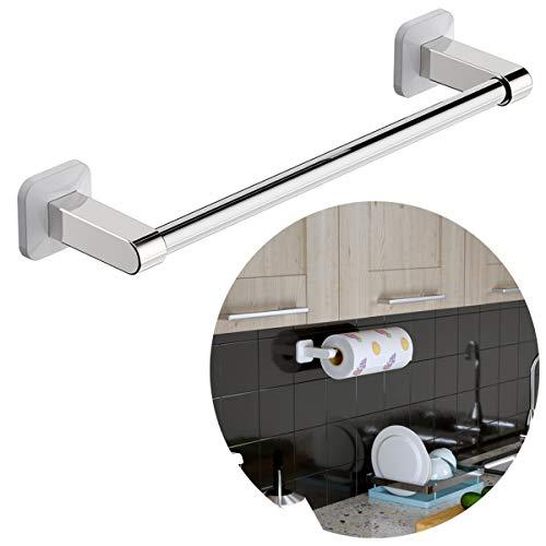 Laigoo Kitchen Paper Towel Holder Adhesive, Under Cabinet Paper Towel Holder Kitchen Tissue Holder Sticky Kitchen Towel Holder (Stainless Steel, White)