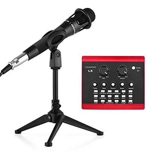 Fariy Tarjeta De Sonido Externa,Teléfono inteligente Equipo de tarjeta de sonido en vivo Dispositivo cambiador de voz Mezclador de audio con micrófono de condensador con cable/Auricular de