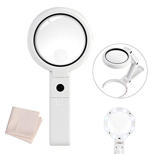 Magnifying Glass, 10X Magnifier with 8 LED Lights Handheld and Stand, for Seniors Reading, Welding, Jewelry, Handicrafts, Coins and Kids Science(2-Lens (10X + 22X)