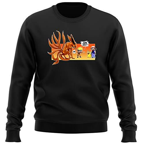 Pull Noir Parodie Naruto - Pokémon - Naruto, Kyubi X Sasha et Pikachu - Un Nouveau dresseur. (Sweatshirt de qualité Premium de Taille M - imprimé en France)