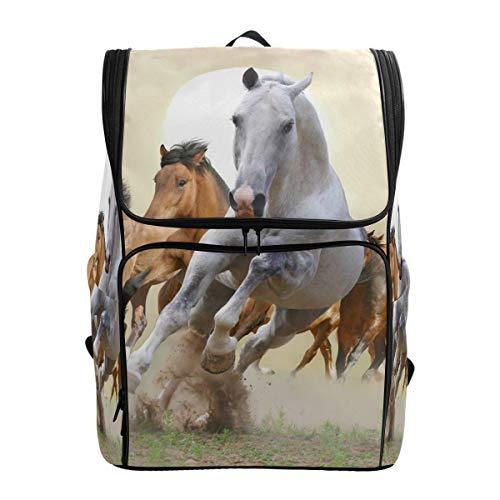 Ahomy, zaino per la scuola con cavalli, per escursionismo, sport, per computer portatile, leggero, per ragazzi e ragazze