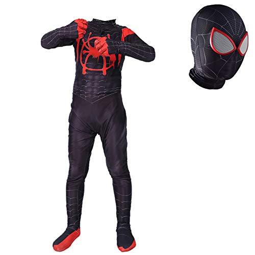LINLIN Kind Spider-Man Cosplay Kostüme Superheld Miles Morales Jumpsuit Lycra Zentai Spandex Halloween Unisex-Mädchen-Jungen-Abendkleid-Strumpfhose Anzug,Red- Kid L 135~145cm