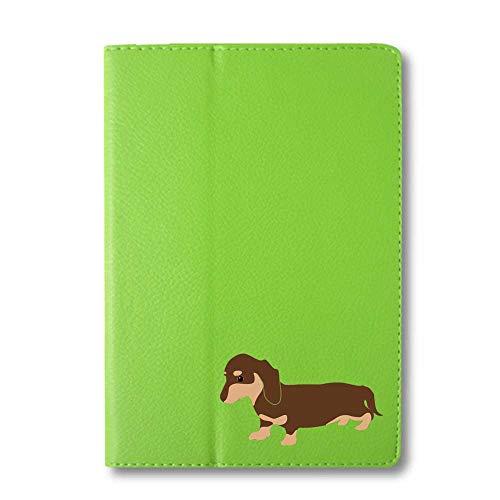 ダックスフンド チョコ&タン タブレットケース iPad 手帳型 iPad mini4 mini5 グリーン 犬 柴犬 黒柴 日本犬 ペット 動物 アニマル タブレットカバー タブレット ブック型 iPadmini4 iPadmini5 アイパッド 緑 F
