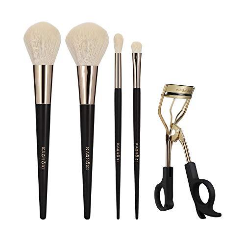 T4B KASHOKI Oniyuri 5 Teilig Makeup Pinsel Set Mit 1 Goldene Wimpernzange, 2 Puderpinseln Und 2...