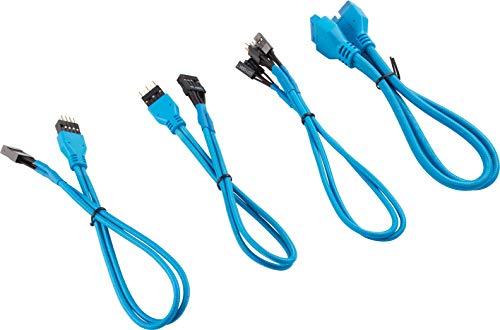 Corsair Kit di Estensione del Pannello Frontale con Cavi Schermati Premium, 30 cm, Blu