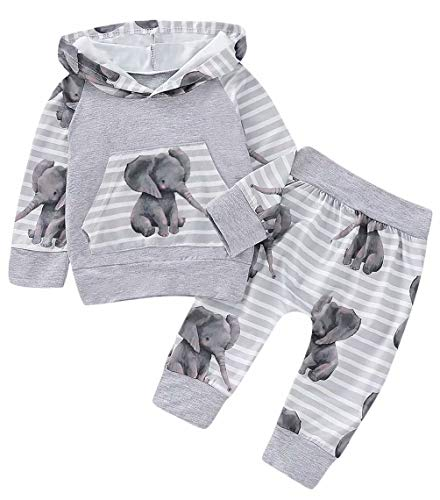 Baby Boy Girl Outfits Elephant Hooded Sweatshirt Tops+ Striped Pants 2PCS Clothes Set Size 12-18M/Tag100 (Gray)