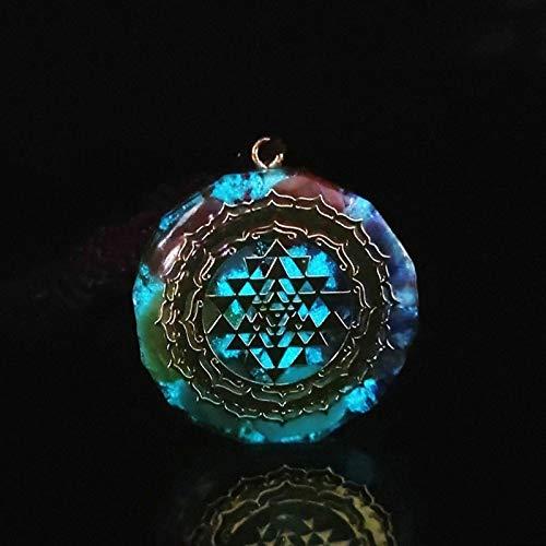 ACEACE Orgonite Necklace Pendant Sacred Geometry Chakra Energy Necklace Meditation Jewelry (Metal Color : Luminous)