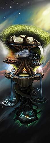 Yggdrasil Canvas The World Tree Irminsul The Tree of Life, The World Tree FRAMED CANVAS PRINT, Genuine Wood Internal Frame, Wall Art Decoration, High Quality Print, 3D Effect