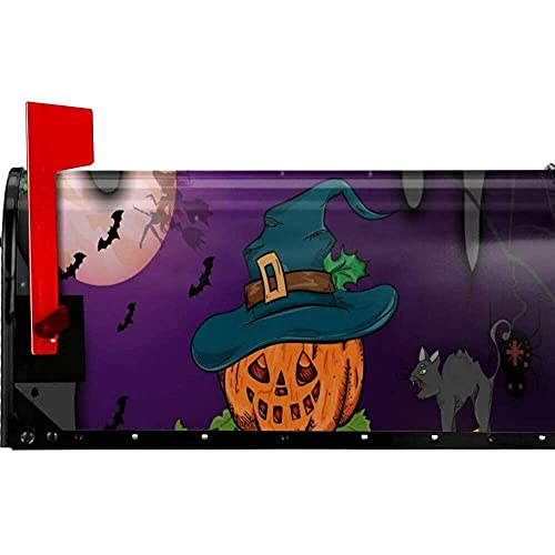 nanxing Briefkastenabdeckungen, magnetisch, Halloween, Kürbis mit Hexenhut, Outdoor, 53,3 x 45,7 cm, für Haus, Garten, Hof