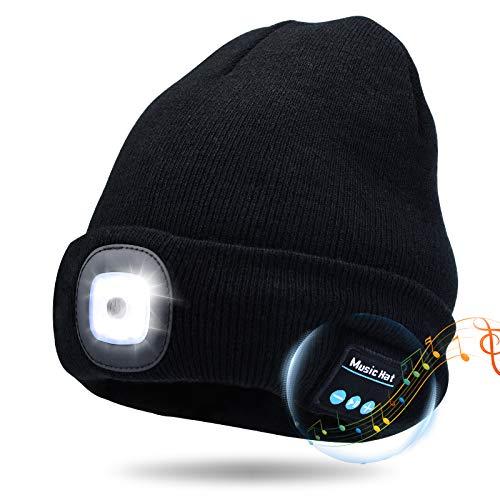 Kaishengyuan Wireless Bluetooth Music Mütze, Wintermütze mit Licht, 4 LED Beanie Hut USB Aufladbare Caps für Männer Frauen warme Strickmütze für Wintersport im Freien Laufen Skifahren (Schwarz)