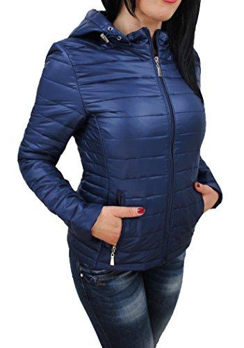 Evoga Giubbotto Piumino Donna Leggero Casual Elegante Giacca 100 Grammi con Cappuccio (L, Blu)