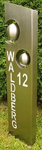 Gartendekoshop24 Edelstahlsäule Felix Plexiglaseinlage mit Name und Hausnummer