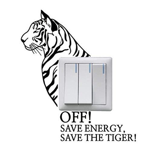 amayituo Creative Animal Wandaufkleber Save Energy Save The Tiger Schalteraufkleber A0019Beschriftung Wechseln