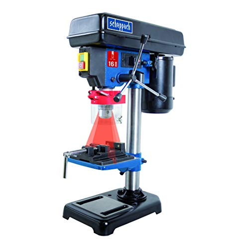 Scheppach 5906808901trapano/trapano da banco dp16vl, possibilità di utilizzo versatile per legno, metallo e tutti i tipi di plastiche, posizione laser, un massimo di 16mm mandrino, 500W, W, 230V