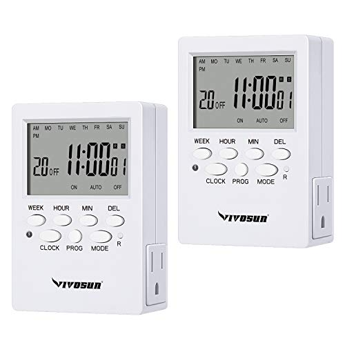 VIVOSUN 7 Day Programmable Timer Indoor Digital Electronic Timer with Dual Outlet, 20 On/Off Program Setting, and Countdown Setting, 2 Pack
