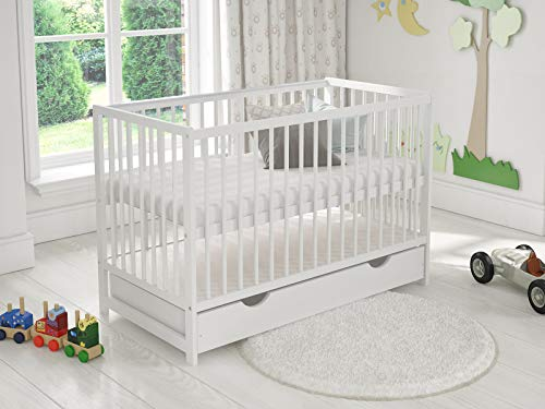 DENISE Wooden Baby Cot with Drawer 120x60cm + Foam Mattress + Safety Wooden Barrier + Teething Rails (White)