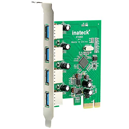 Inateck USB 3.0 Karte 4 usb3.0 Ports Pci Expresskarte, Keine Stromanbindung mehr erforderlich, Versorgung über den PCI-E Einschub