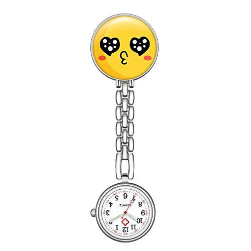 Relojes Silicona Enfermera,Enfermera Sonriente Reloj de Bolsillo Duradero, pequeño Reloj de Bolsillo portátil, yema de Huevo 1,Reloj Bolsillo de Broche en Silicona
