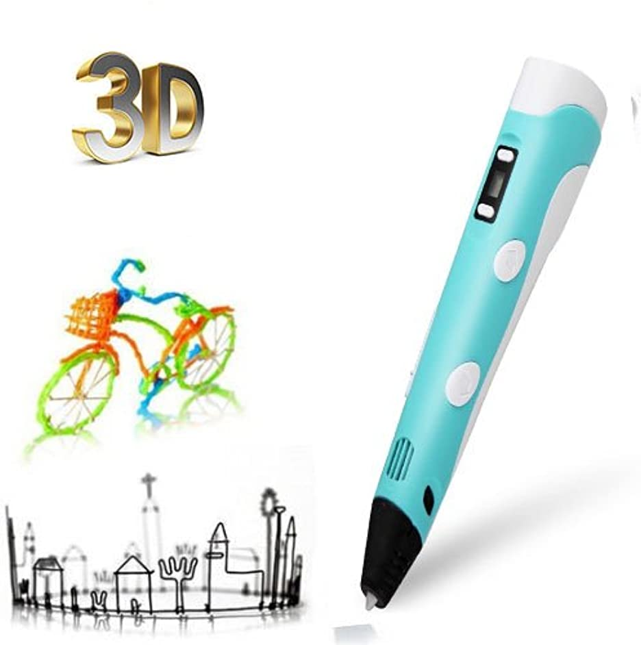 [Upgraded] 3D Printing Pen, 3D Arts & Crafts Drawing Pen School Education Pen with LCD Screen For Doodling + 3 Free 1.75mm Filament Refills for Children and Adult(Blue)