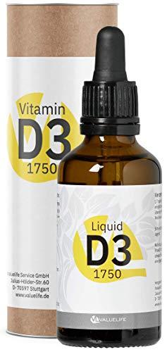 Vitamin D3 Tropfen - 1750 Tropfen Cholecalciferol aus natürlichem Lanolin in Kokosöl. Ohne...