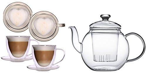 Geschenkset: Teekrug 1,2ltr. + 2x 350ml XL doppelwandige Herz-Tassen für Latte Macchiato, Cappuchino, Kaffee, Tee - Tquiero von Feelino, Teekanne und 2 edle große Thermotassen mit Herz/Herzform innen
