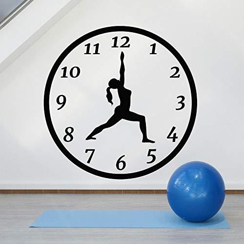 WERWN Calcomanía de Pared de Tiempo de Yoga, Silueta de niña, Reloj de Pose, Sala de meditación, decoración del hogar, Pegatina de Vinilo, Mural artístico para Dormitorio Creativo