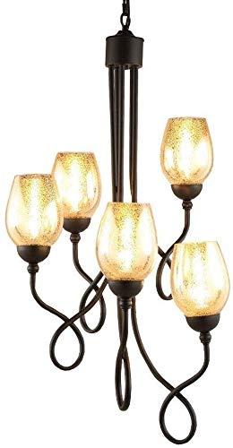 5 koppen wenteltrappen kroonluchter, industrieel vintage smeedijzer glas opknoping licht metaal woonkamer kroonluchter hotel kerken lobby plafond hanglamp E14 YZPDD (kleur: 5 koppen)