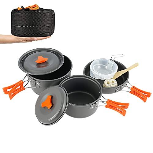 Camping Kochgeschirr Set, Camping Kochgeschirr, 9 Stück Edelstahl Aluminium Leichte Kochtopf, für 2-3 Personen